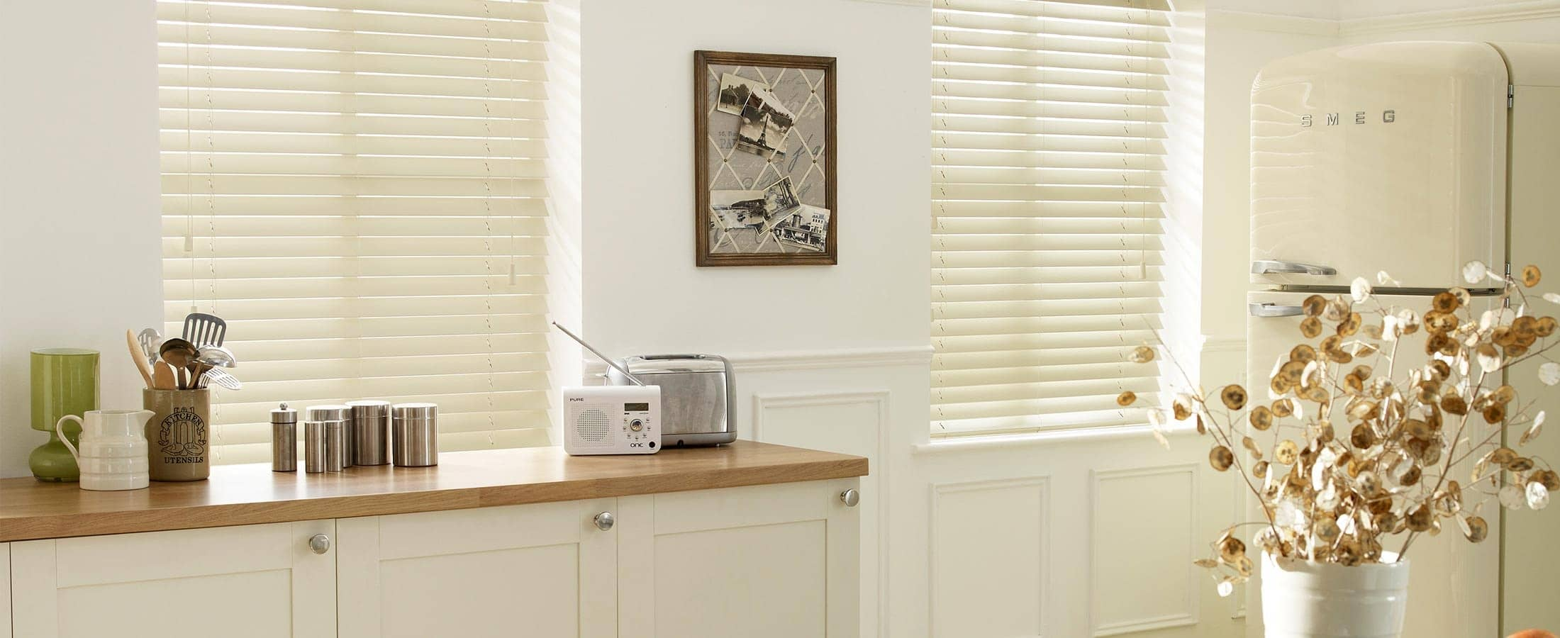 Cream PVC Timber Venetian Blinds