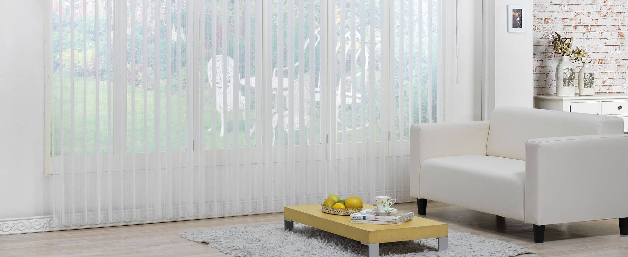 Vertisheers Blinds Open in Colour White