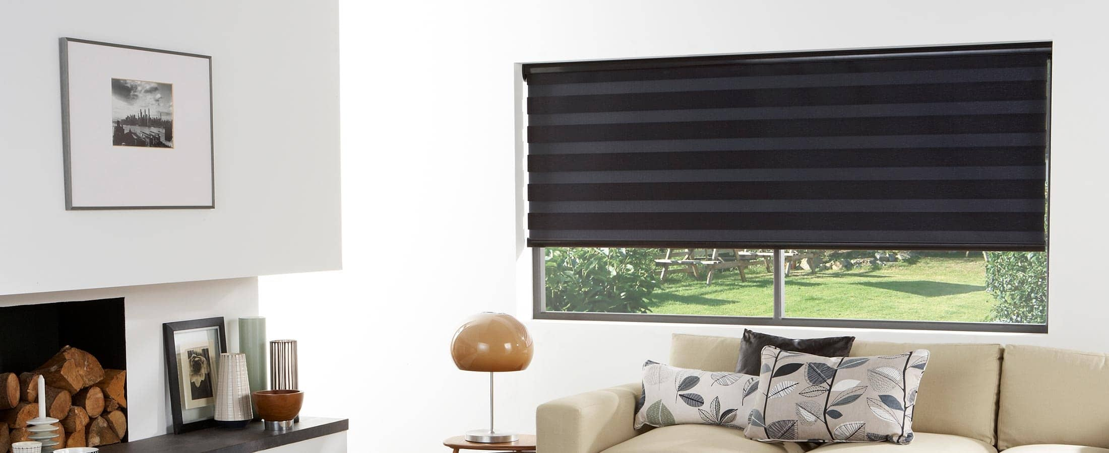BLack Vision Zebra Blinds closed