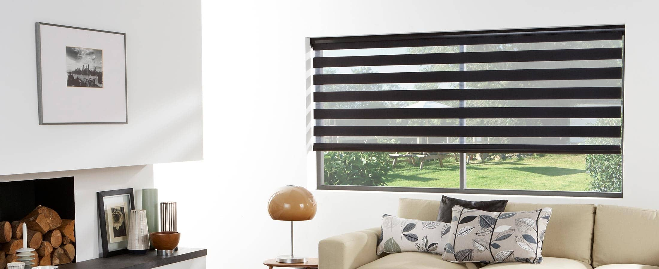 Black Vision Zebra Blinds Open